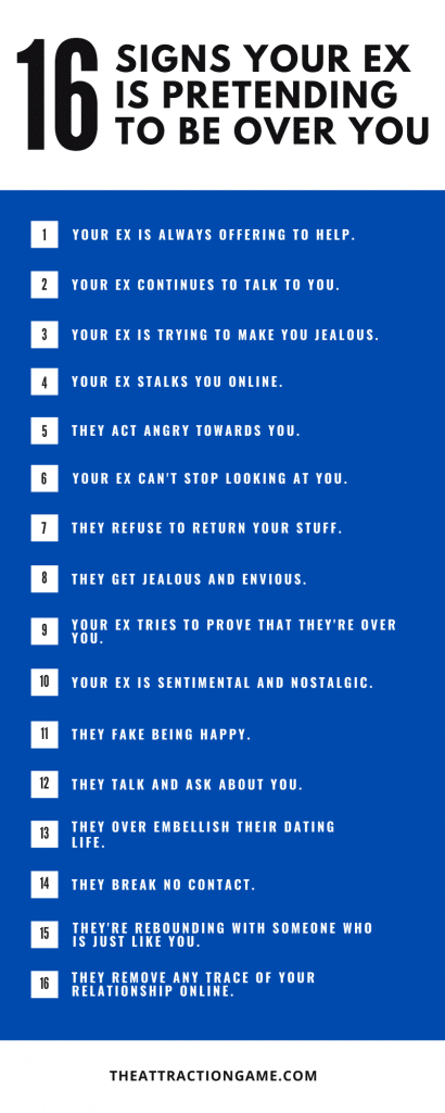 signs your ex is pretending to be over you, infographic on signs is pretending to be over you, signs your ex is pretending to not care about you
